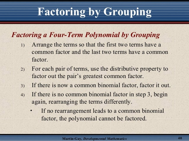 How do you factor polynomials with four terms?