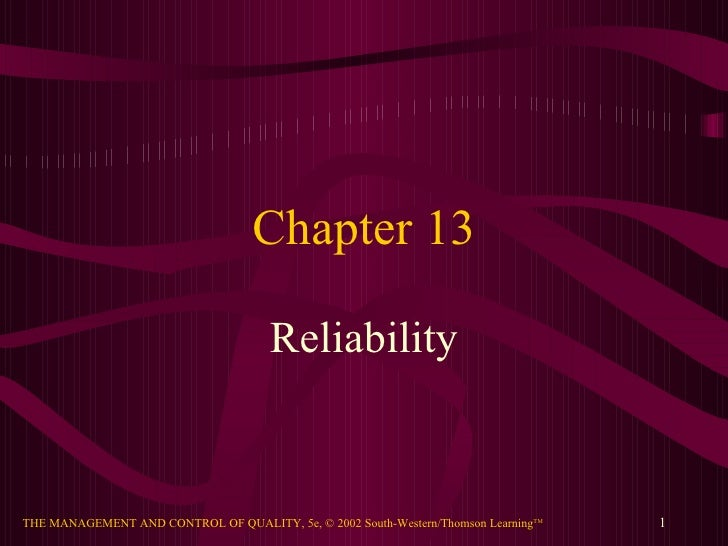 Chapter 13 Reliability
