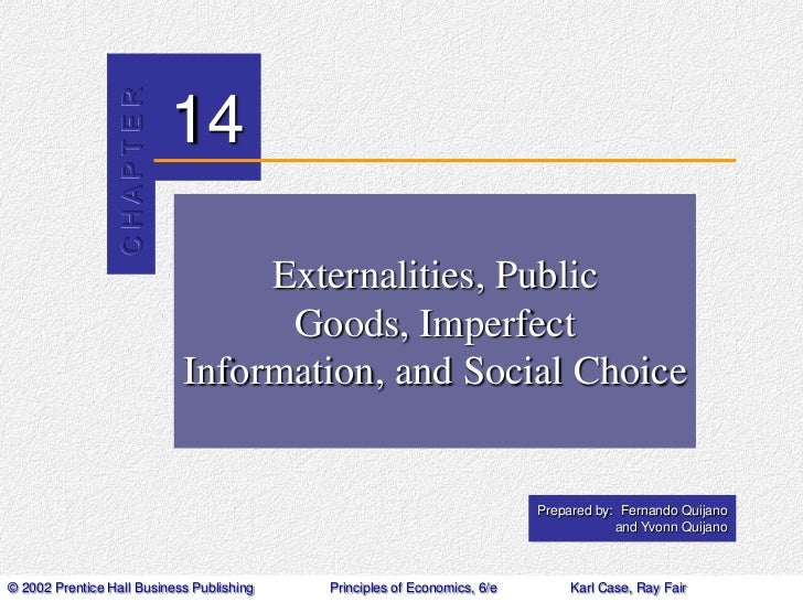 Externalities, Public Goods, Imperfect Information, and Social Choice<br />