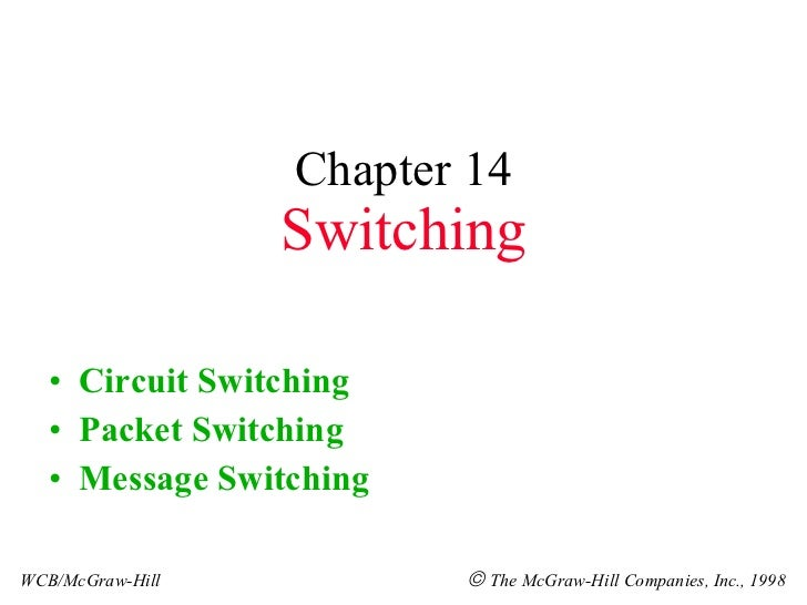 Chapter 14 Switching <ul><li>Circuit Switching </li></ul><ul><li>Packet Switching </li></ul><ul><li>Message Switching </li...