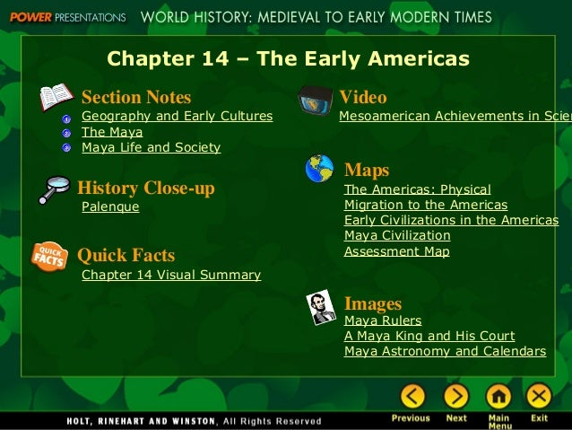 Chapter 14 The Early Americas