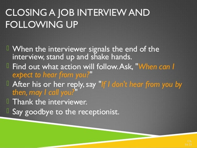 ch 1420 21 closing a job interview and following up