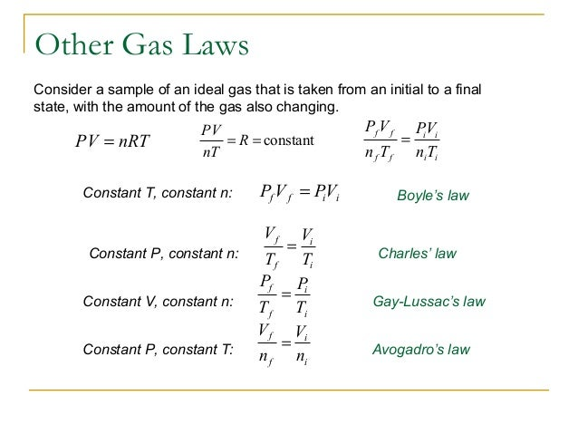 Gas Ideal Law