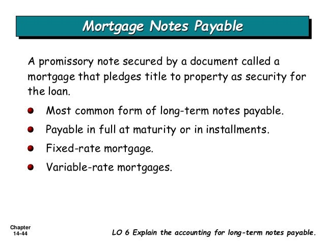 Long Term Liabilities – Note Payables