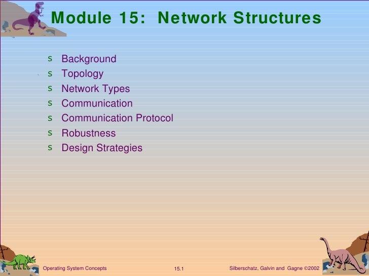 Module 15:  Network Structures <ul><li>Background </li></ul><ul><li>Topology </li></ul><ul><li>Network Types </li></ul><ul...