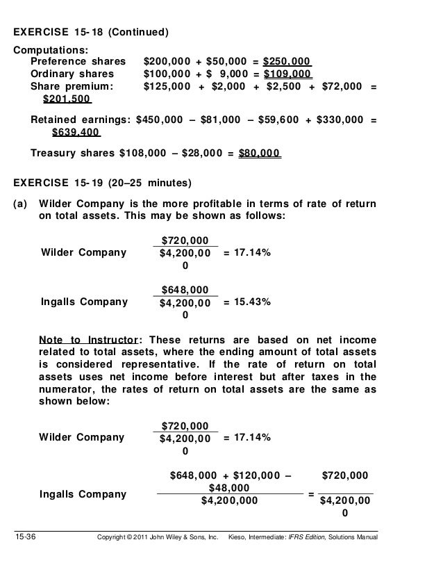 EXERCISE 15- 18 (Continued)Computations:  Preference shares               $200,000 + $50,000 = $250,000  Ordinary shares  ...