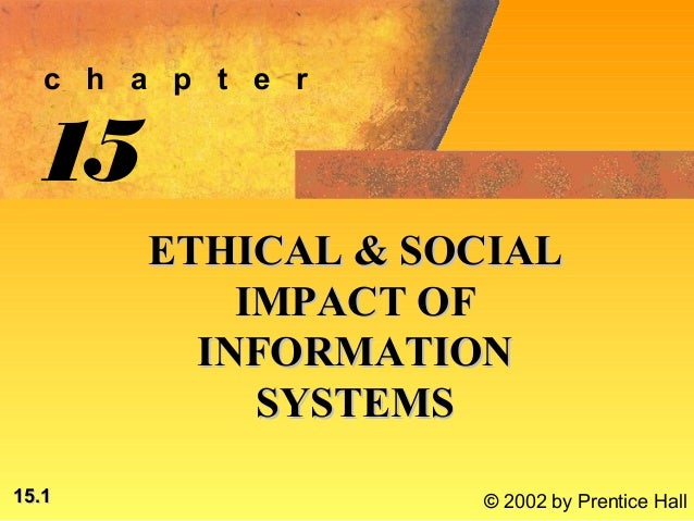 c h a p t e r  15        ETHICAL & SOCIAL            IMPACT OF          INFORMATION             SYSTEMS15.1               ...