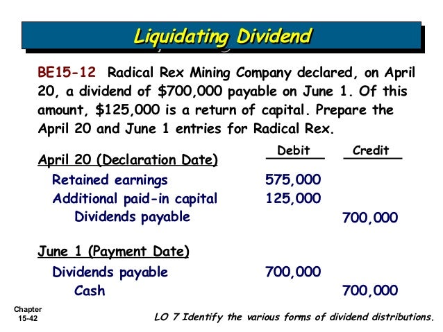 Liquidating dividend accounting journal entry