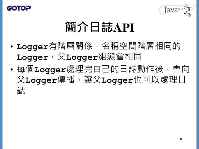 簡介日誌API • Logger有階層關係,名稱空間階層相同的 Logger,父Logger組態會相同 • 每個Logger處理完自己的日誌動作後,會向 父Logger傳播,讓父Logger也可以處理日 誌 8