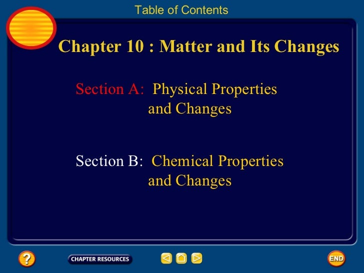 Matter: Physical Properties and Change