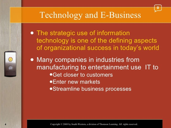e business technology The use of e‐business technologies between supply chain organizations has primarily been examined from the viewpoint of buying firms or retailers, with little attention given to the benefits accrued to suppliers further, previous studies have been limited to either financial or marketing performance.