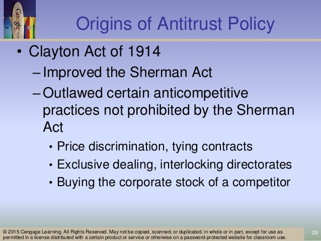 an analysis of the sherman anti trust act Find a summary, definition and facts about the sherman antitrust act for kids the  1890 sherman antitrust act made it a crime to monopolize.