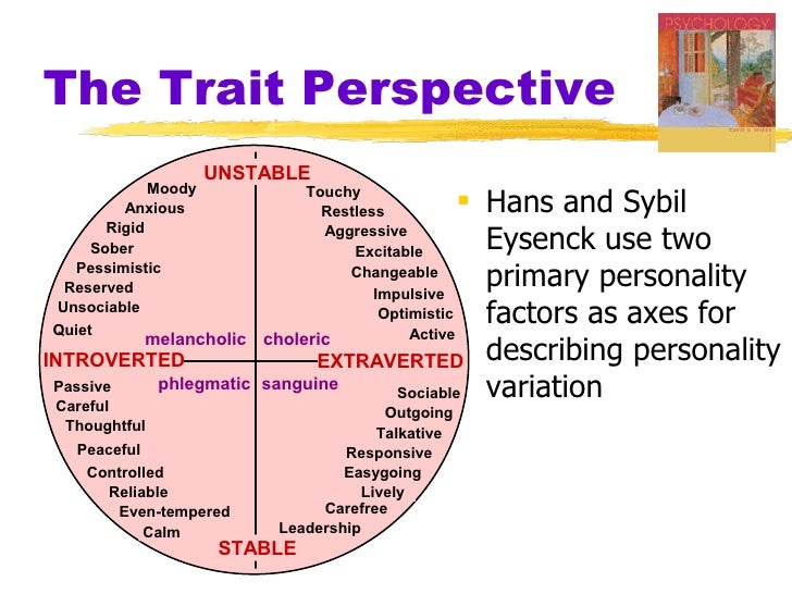 trait theory eysenck The ocean of personality if you look at the theories we've discussed so far, not only within the trait theory camp, but also those of hans eysenck and even sigmund freud, you may start to.