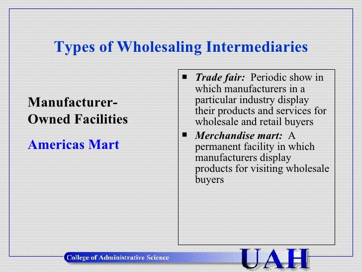 wholesaling intermediaries Wholesaling intermediaries provide time, place, and ownership utilities they do this by performing the basic marketing functions of buying, selling, storing, transporting, risk taking, financing, and supplying market information.