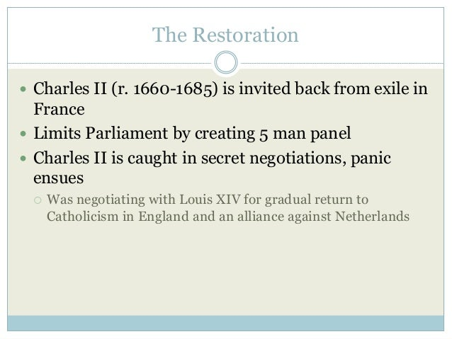 The Restoration  James II succeeds (r. 1685-1688) but is an open Catholic  Places many Catholics in high positions  Dec...