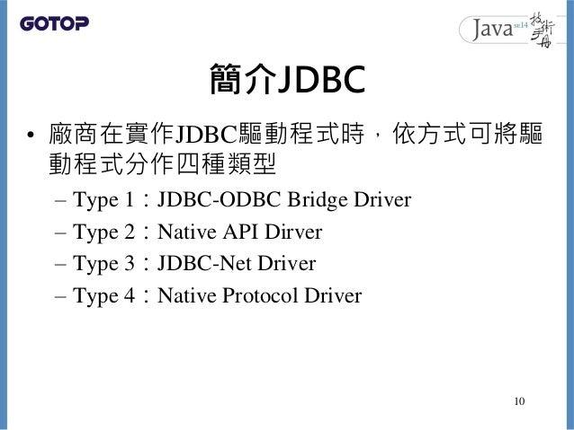 簡介JDBC • 廠商在實作JDBC驅動程式時,依方式可將驅 動程式分作四種類型 – Type 1:JDBC-ODBC Bridge Driver – Type 2:Native API Dirver – Type 3:JDBC-Net Dri...