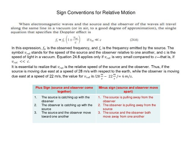 doppler effect equation signs. sign conventions doppler effect equation signs