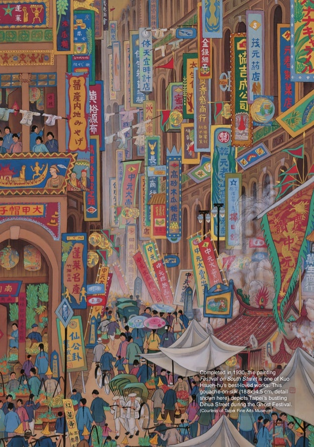 Completed in 1930, the painting                       Festival on South Street is one of Kuo                       Hsueh-h...