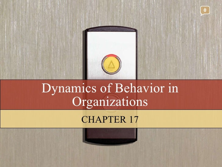 Dynamics of Behavior in Organizations CHAPTER 17 0