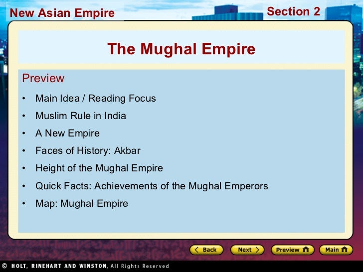 <ul><li>Preview </li></ul><ul><li>Main Idea / Reading Focus  </li></ul><ul><li>Muslim Rule in India </li></ul><ul><li>A Ne...