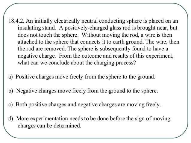 18.4.2. An initially electrically neutral conducting sphere is placed on an insulating stand. A positively-charged glass r...