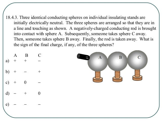 18.4.3. Three identical conducting spheres on individual insulating stands are initially electrically neutral. The three s...