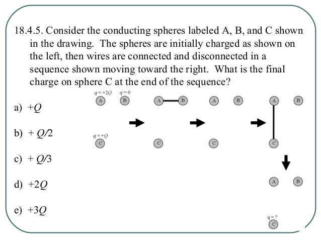 18.4.5. Consider the conducting spheres labeled A, B, and C shown in the drawing. The spheres are initially charged as sho...