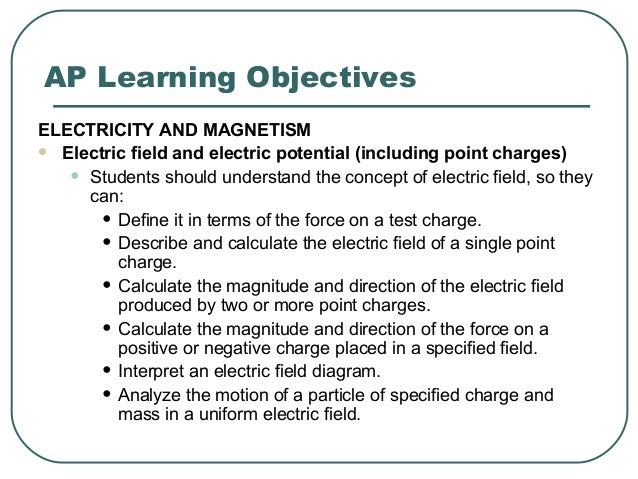 AP Learning Objectives ELECTRICITY AND MAGNETISM  Electric field and electric potential (including point charges) • Stude...