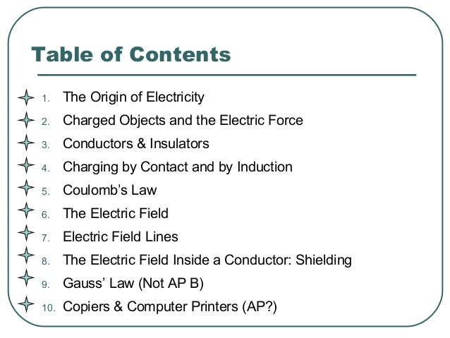 Table of Contents 1. The Origin of Electricity 2. Charged Objects and the Electric Force 3. Conductors & Insulators 4. Cha...
