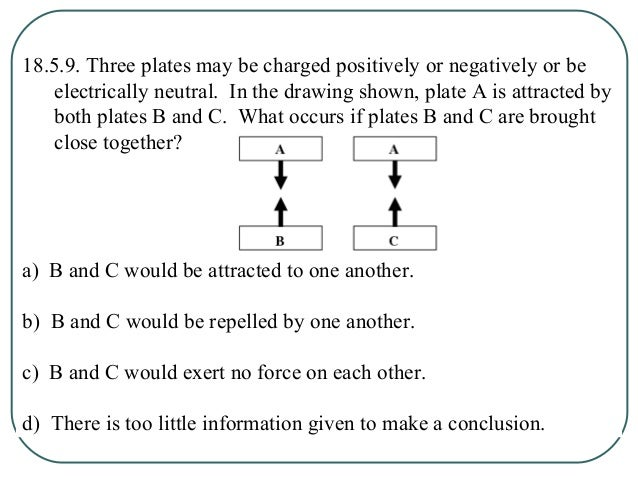18.5.10. Three plates may be charged positively or negatively or be electrically neutral. In the drawing shown, plate A is...