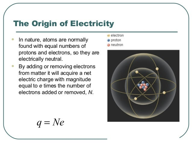 The Origin of Electricity  In nature, atoms are normally found with equal numbers of protons and electrons, so they are e...