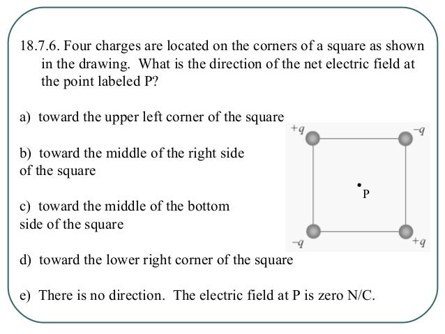 18.7.7. Four charges are located on the corners of a square as shown in the drawing. What is the direction of the net elec...