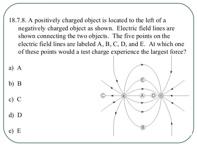 18.7.9. A positively charged object is located to the left of a negatively charged object as shown. Electric field lines a...