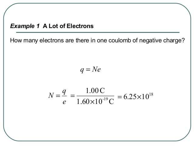 Example 1 A Lot of Electrons How many electrons are there in one coulomb of negative charge? Neq = e q N = C101.60 C00.1 1...