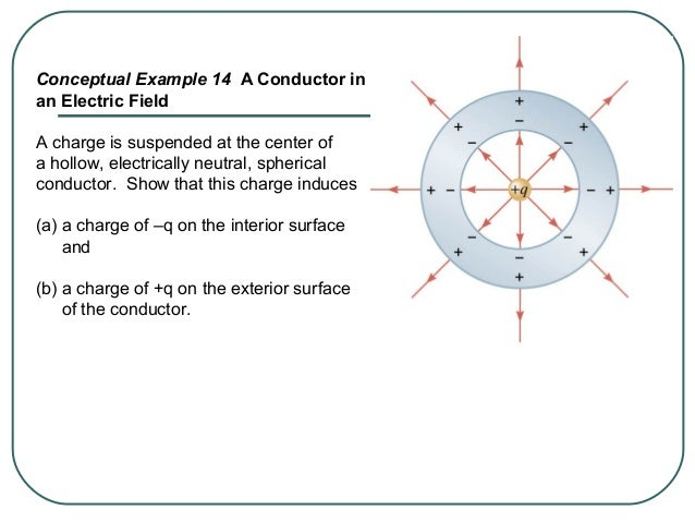 18.8.1. The drawing shows a hollow conducting sphere with a net positive charge uniformly distributed over its surface. A ...