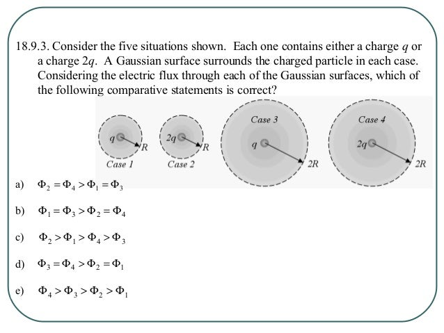 18.9.5. A spherical Gaussian surface of radius R is surrounding a particle with a net charge q. If the spherical Gaussian ...