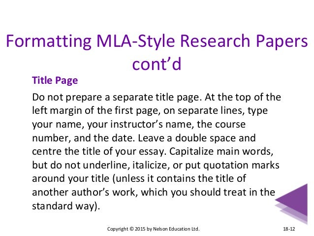 mla cover page sample