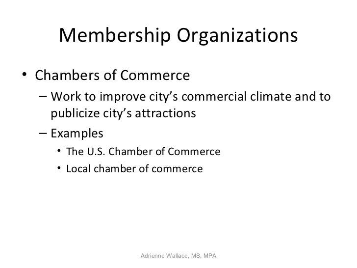 Membership Organizations• Chambers of Commerce  – Work to improve city's commercial climate and to    publicize city's att...
