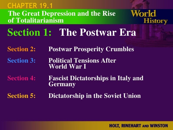 CHAPTER 19.1 Section 1: The Postwar Era Section 2: Postwar Prosperity Crumbles Section 3: Political Tensions After  World ...