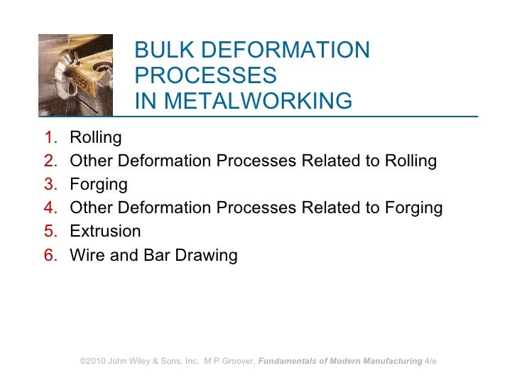 BULK DEFORMATION PROCESSES  IN METALWORKING <ul><li>Rolling </li></ul><ul><li>Other Deformation Processes Related to Rolli...