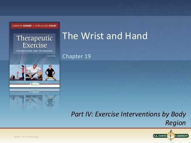 Copyright © 2013. F.A. Davis CompanyPart IV: Exercise Interventions by BodyRegionChapter 19The Wrist and Hand