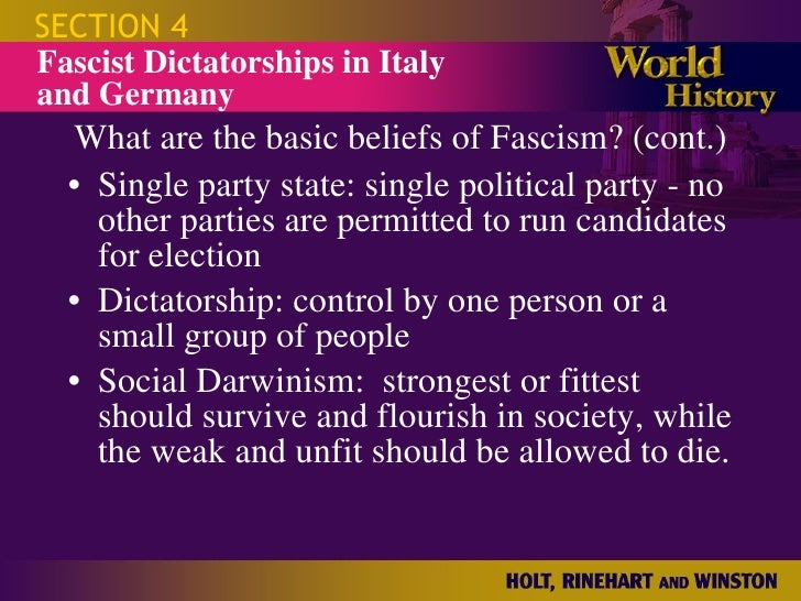 basic tenets of fascism What are the 5 characteristics of fascism 1 cultural 2 social 3 economic 4 political 5 basic principles  what were the basic principles authoritarianism,.