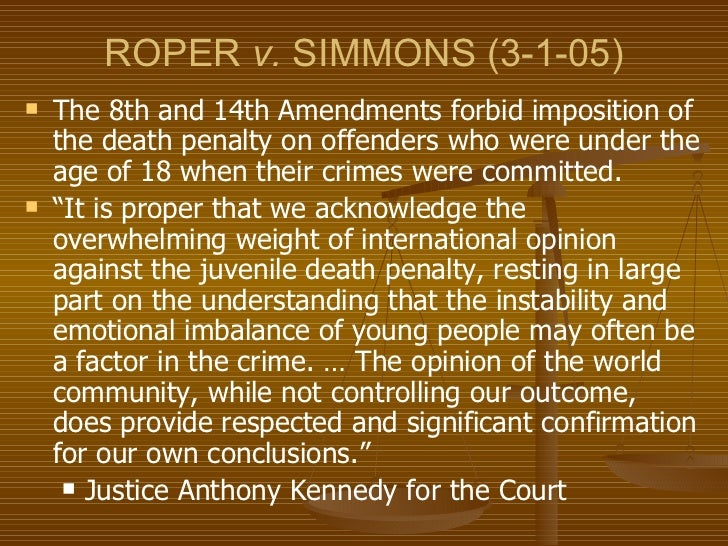 roper vs simmons roper vs simmons by: as a result of the us supreme court's controversial 5-4 decision parata-13448932 roper v simmons.
