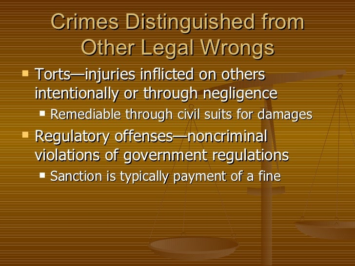 crimes civil offenses and other wrongs A crime is a charge by the state or federal government  some crimes can also be civil wrongs,  it is decided during arrest if the charges will be felony or other.