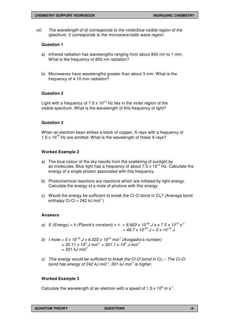 First Year Undergraduate Inorganic Chemistry Workbook