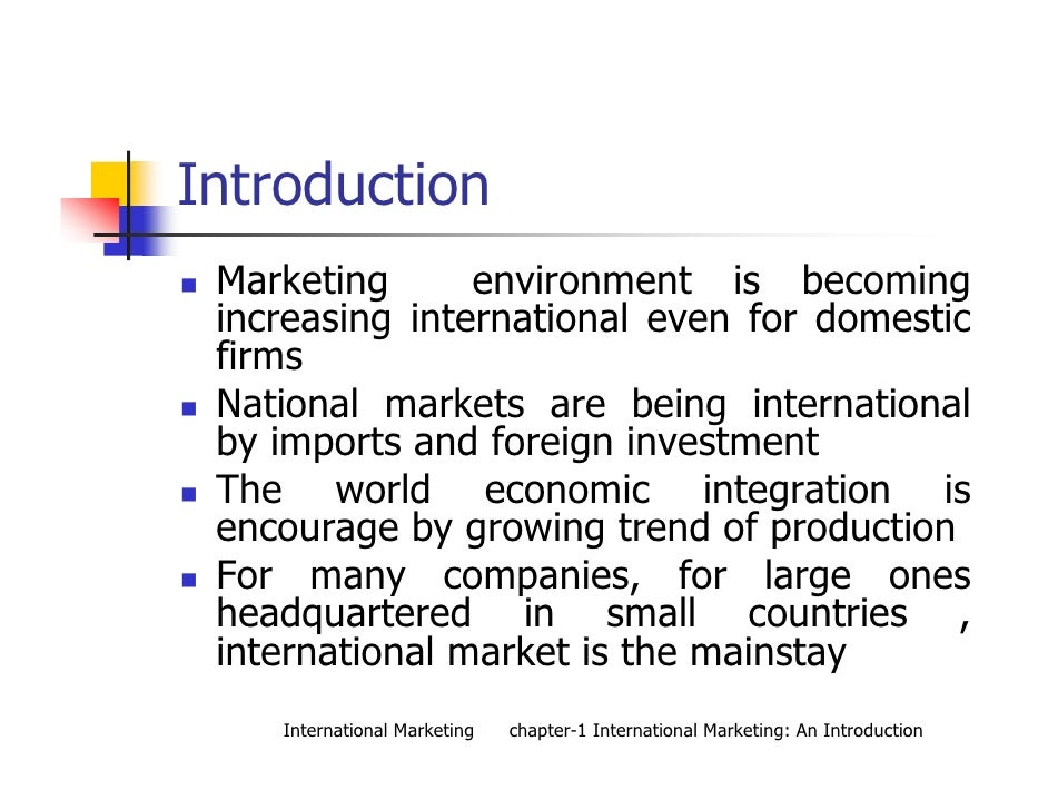 international marketing ch 1 International marketing (14th edition) journal of teaching in international business volume 21, 2010 - issue 1 published online: 16 mar 2010 book review.