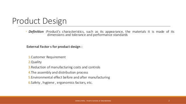 Product design and value engineering pdve ch 1 introduction for Product design for manufacturing