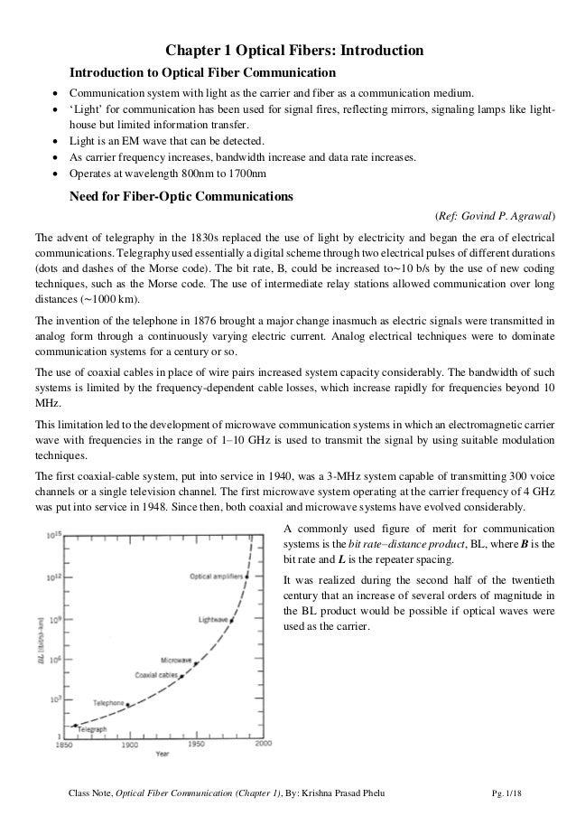 Class Note, Optical Fiber Communication (Chapter 1), By: Krishna Prasad Phelu Pg. 1/18 Chapter 1 Optical Fibers: Introduct...
