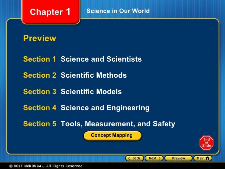 Science in Our World Preview Section 1  Science and Scientists Section 2  Scientific Methods Section 3  Scientific Models ...