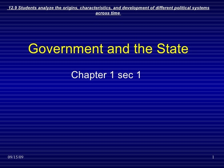 Government and the State Chapter 1 sec 1